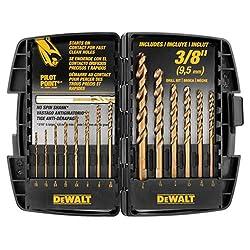 4. DEWALT DW1263 14-Piece Cobalt Pilot Point Drill Bit Set