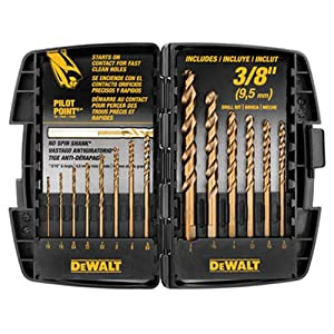 4. DEWALT DW1263 14-Piece Cobalt Pilot Point Drill Bit Set