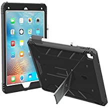 iPad Pro 9.7 Case, POETIC Revolution [Premium Rugged][Landscape Stand Feature][Shock Absorption & Dust Resistant] Protective Case w/ Built-In Screen Protector for Apple iPad Pro 9.7 Black/Dark Gray