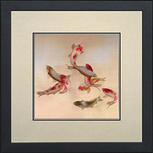 100% Handmade Embroidery Framed Nine Red & White Japanese Koi with Retro Style Oriental Wall Hanging Art Asian Decoration Tapestry Artwork Picture Gifts (05: Nine Koi) ()