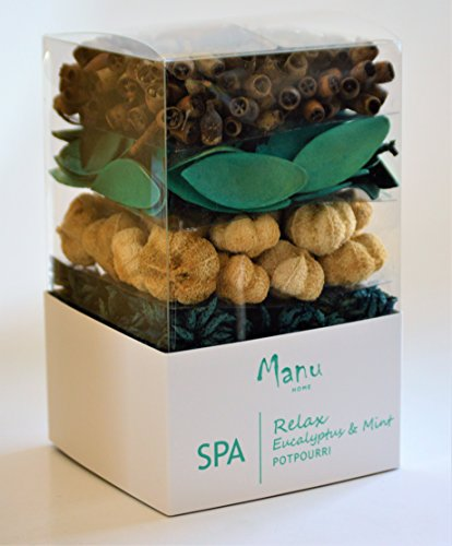 Manu Home RELAX Eucalyptus & Mint Potpourri Box ~ 10oz Box with Natural Botanicals & Pods ~ perfect Home Decor~