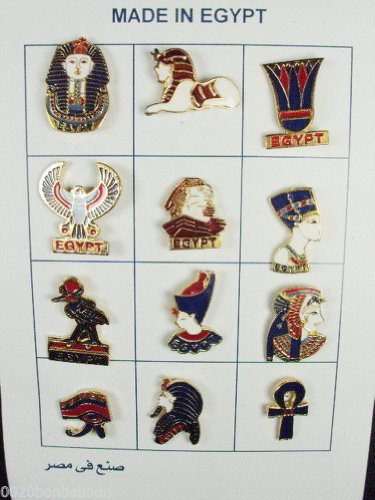 King Tut Cartouche - Lot OF 12 Egyptian Enameled Pins King Tut Pharaoh Queen Nefertiti Ramses Ramsis Lotus Ankh Cleopatra Horus Ankh Nefertiti 235