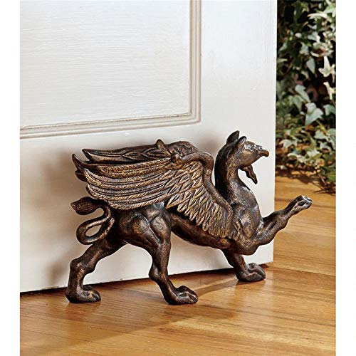 Design Toscano The Growling Griffin Foundry Iron Doorstop Set of 2