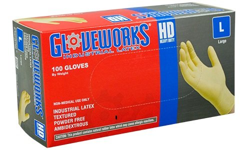 AMMEX - ILHD46100 - Latex Gloves - Gloveworks - Disposable, Powder Free, Industrial, 8 mil, Large, White (Case of 1000) by Ammex