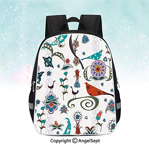 Classic Mj Flowers - Schoolbag for Kids,Floral Flowers Swirls Ivy Buds Birds Leaves Ethnic Bohem Inspired Artistic Image Decorative,13