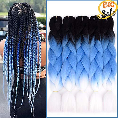 NAISIER Black to Sapphire to white Ombre Jumbo Braids Crochet Braids 3 Tone Ombre Color Hair Extension For Braiding Kanekalon Jumbo Box Braiding Hair,5 Pcs,24