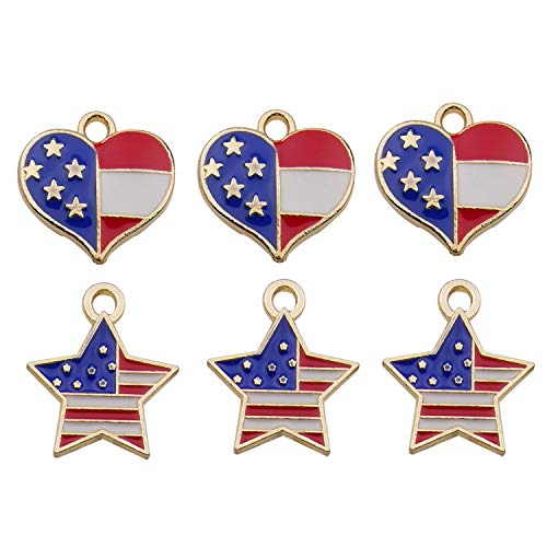 (iloveDIYbeads 40pcs Mixed Heart Star American Flag Charms Pendant Patriotic Enamel Charms for 4th Independence Day Ornament of July DIY Decoration Jewelry Making M329)