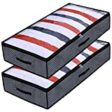 Onlyeasy Foldable Underbed Bags - 2 Pack Blankets Clothes Comforters Storage Bags Breathable Zippered Organizer For Bedrooms,With Clear Window and 3...