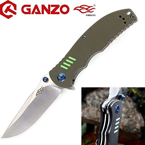 (GANZO FIREBIRD - Machined G10 Fiber Glass Anti-Slip Handle Scales Steel Liner Lock Folding Tactical Survival Knife Blade with Clip, Pouch, Army Green - G7511)