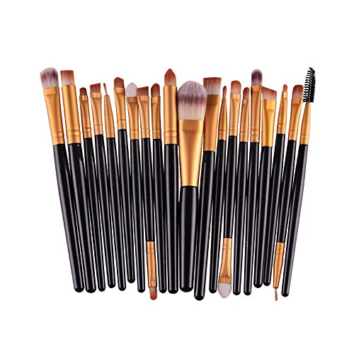 (AMarkUp 20 Pcs Pro Makeup Brushes Set Powder Foundation Eyeshadow Eyeliner Lip Cosmetic Conclear Eyebrow Brush (Black+Gold))