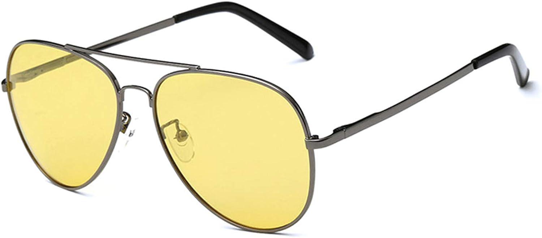 RTGreat Fashion Vintage Aviation Pilot Sunglasses Des lunettes de soleil Men Women Night Vision Glasses Yellow Night Glasses For Driving Sun Glasses With Case Gunmetal