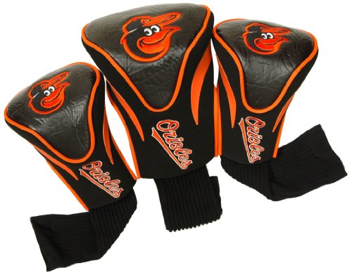3 Headcovers Pack Golf (Team Golf MLB Baltimore Orioles Contour Golf Club Headcovers (3 Count), Numbered 1, 3, & X, Fits Oversized Drivers, Utility, Rescue & Fairway Clubs, Velour lined for Extra Club Protection)