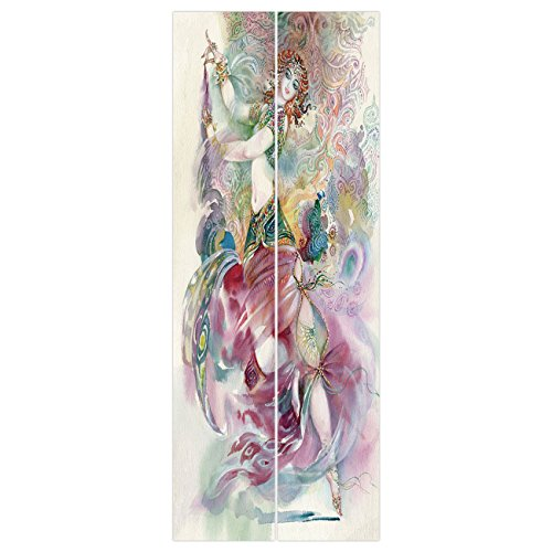 3d Door Wall Mural Wallpaper Stickers [ Watercolor,Oriental Dance Theme Young Girl Performing in Traditional Costume Fantasy Figure,Multicolor ] Mural Door Wall Stickers Wallpaper Mural DIY Home Decor -