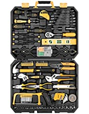 DEKOPRO ET00654 168 Piece Socket Wrench Auto Repair Tool Combination Package Mixed Tool Set Hand Tool Kit with Plastic Toolbox Storage Case, Black, Yellow