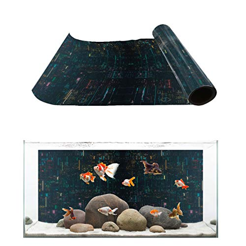 Fantasy Star Aquarium Background Future Computer Programming Pattern Fish Tank Wallpaper Easy to Apply and Remove PVC Sticker Pictures Poster Background Decoration 12.4