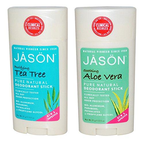 Jason Tea Tree Deodorant (Jason Tea Tree Deodorant & Aloe Vera Deodorant Bundle with Grapefruit, Citronellol, and Corn Starch, 2.5 fl. oz. each)