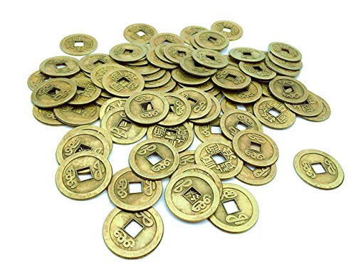IFfree 84 Pack Double Dragon Chinese Good Luck Coins,Shui I-ching Coins,Mixed 5 Differern Chinese Dynasty Time Coin,A Big Value,Special gift(7 Dozen)