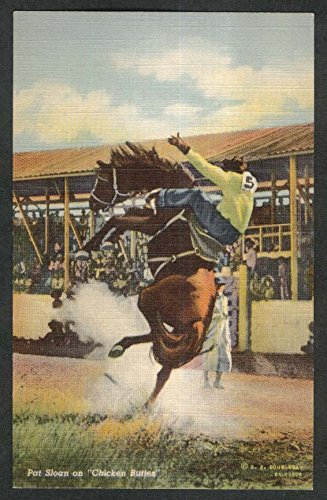 (Pat Sloan on Chicken Buttes rodeo postcard 1930s)