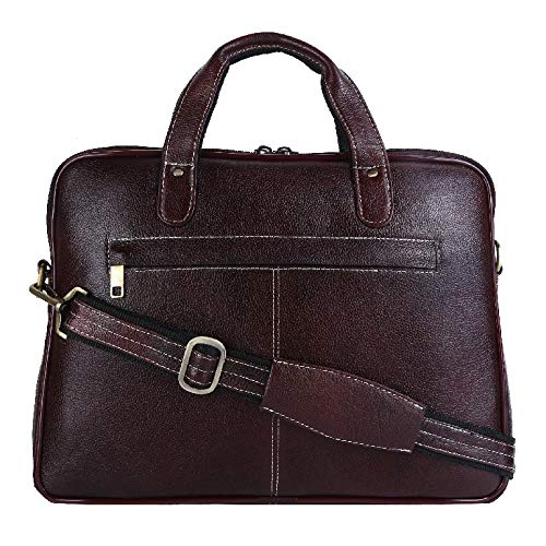 (HiLEDER 100% Pure Genuine Leather 14.5 inch Briefcase Laptop Messenger Satchel Office Bag, Dark Brown)