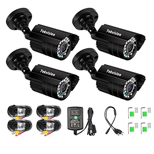 Tekvision Waterproof Outdoor Camera kits 4Pk HD 720P AHD Security Surveillance CCTV Bullet Camera Kit with IR Cut Night Vision IP66 For AHD 720P/1080 DVR (Not Compatible With Old 960H DVR System)