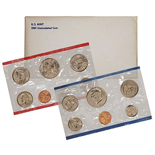 - 1981 Various Mint Marks United States Mint Uncirculated Coin Set in Original Government Packaging Uncirculated