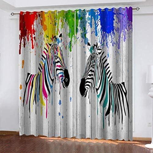 Tenda Oscuranti Termiche Isolanti con Occhielli – 100% Poliestere Tessuto, 2 x 140cm x 220cm (W x L) – Tema del Tendaggio 3D – Zebra di Colore – Adatto per Soggiorno, Camera da Letto e finestre