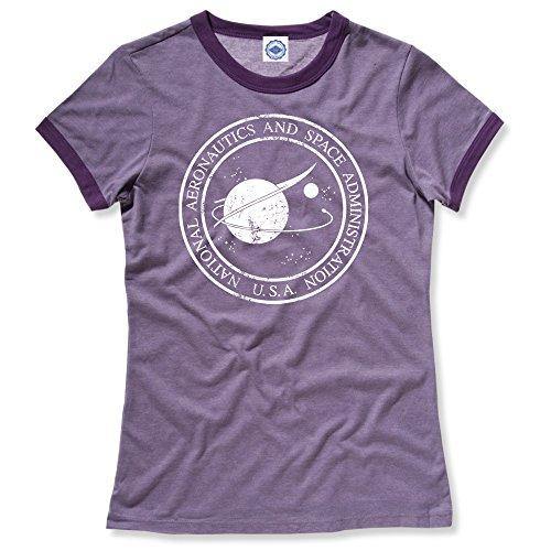 (Hank Player U.S.A. Original NASA Seal Women's Ringer T-Shirt (XL, Heather Purple))