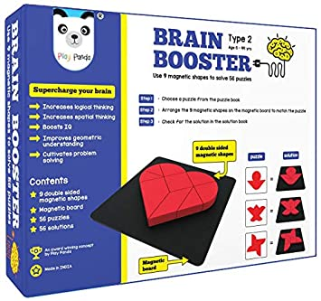 Play Panda Brain Booster Set 2 (Junior) - 56 Puzzles Designed to Boost Intelligence - with Magnetic Shapes, Magnetic Board, Puzzle Book and Solution Book