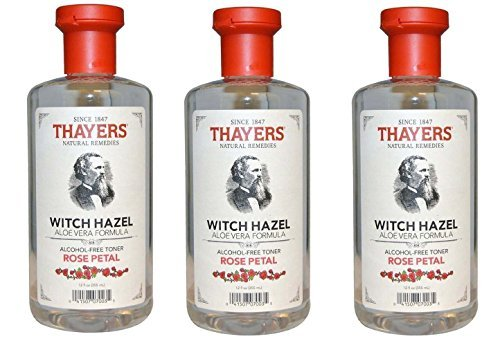 THAYERS Alcohol-Free Rose Petal Soothing Witch Hazel for Face & Skin with Aloe Vera UcvrXn, 3Pack (12 oz)