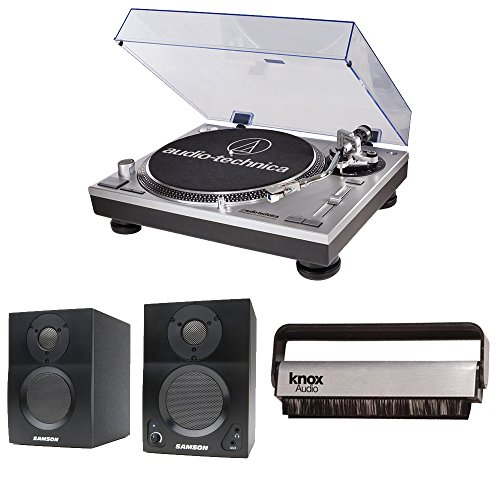 Audio-Technica AT-LP120-USB Turntable w/ Samson SAMBT4 Bluetooth Monitors