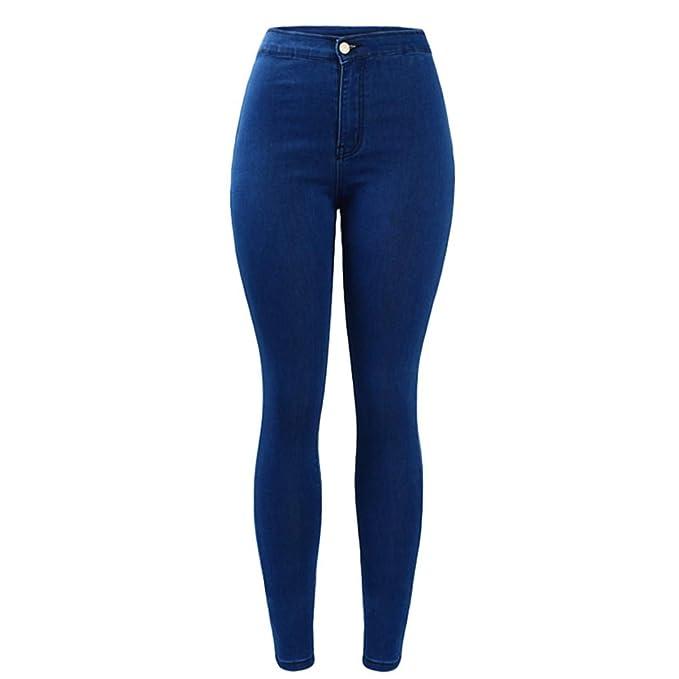 Z-BAIBAO Pantalones Vaqueros Flacos de Cintura Alta Azul ...