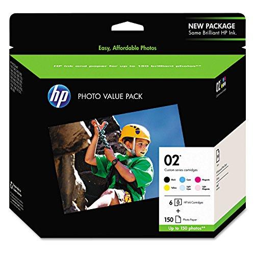 HP 02 | 6 Ink Cartridges with Photo Paper | Black, Cyan, Magenta, Yellow, Light Cyan, Light Magenta | Q7964AN (Hp Photosmart 3210 All In One Printer)