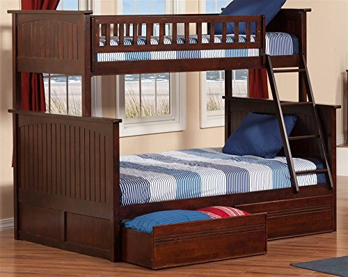 (Nantucket Bunk Bed with 2 Flat Panel Bed Drawers, Twin Over Full, Antique Walnut)
