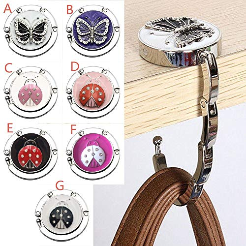 Saying Mini Butterfly Beetle Folding Hanger, Holder Table Hook for Purse Handbag, Durable Key Holder, Ideal for Kitchen, Bathroom, Hallway, Living Room, Desk Side (Style - a) by Saying (Image #1)