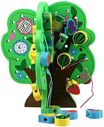 知育玩具 色のビーズゲーム、教育ビーズスレッディングおもちゃ-30ウッドアニマルブロック 誕生日プレゼント (Color : Multi-colored, Size : 29.5x22x4cm)