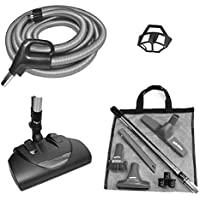 Central Vacuum Power Brush Cleaning Set Featuring a Wessel-Werk EBK-360 Power Nozzle, 35-foot Direct Connect Hose, Tool Set, in Black and Silver-Gray