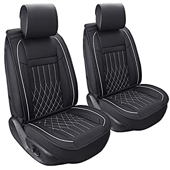 Image of Aierxuan 2 Car Seat Cover Front Seat with Waterproof Leather, Universal Fit for Most Sedan SUV and Truck (2 PCS Front, Black and White) Accessories