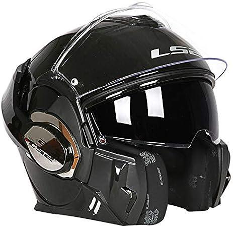 MYSdd Motorradhelm Cabrio Modular Racing 180 Grad Flip Forward Modular Design Kratz und UV-Maske A Schwarz Rot XL