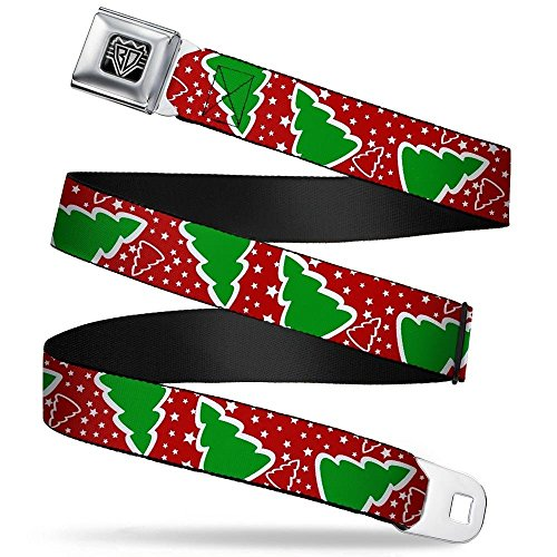 Seat Wide Tree - Buckle-Down Unisex-Adult's Seatbelt Belt Christmas XL, Trees/Stars red/White/Green, 1.5