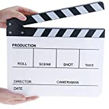 Professional Plastic Acrylic Clapboard Dry Erase Director Film Movie Clapper Board Slate 9.6 x 11.7'' with Black/White Sticks