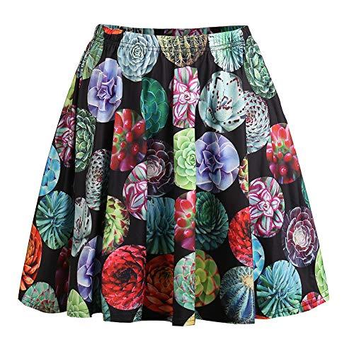 Fancyqube Women's Cute Dinosaur Sloth Panda Avocado Print Flared Mini Skirt (XL, ()