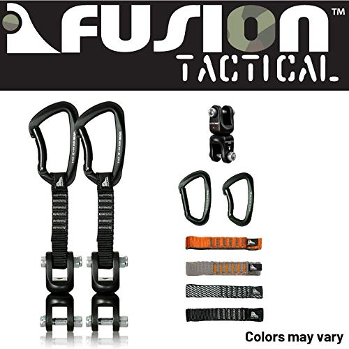 Fusion Climb 2-Pack 12cm Tactical Military Rescue Quickdraw Set with Vapor III Bent Gate Black/Dual Shackle Rotation Swivel Device Carabiners Strongly Made in The USA ()