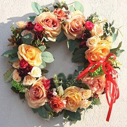Rose wreath handmade home wall decor VINTAGE STYLE