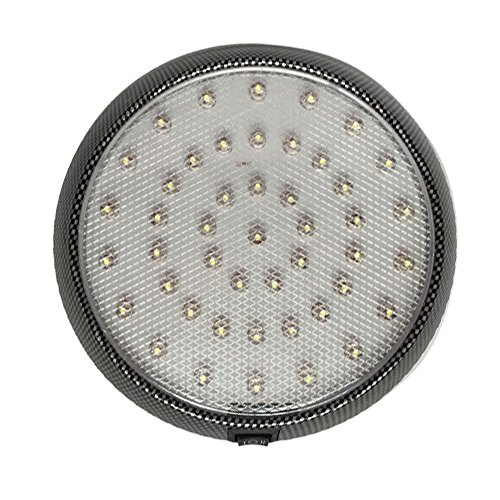 Frosted Dome Lens - 12v-LEDlight 46LEDs Interior Ceiling Lamp with On/Off Switch – Lightweight & Engergy-saving Lighting Replacement – 5 inch 12 volt Light Black Bezel Frosted Lens Natural White
