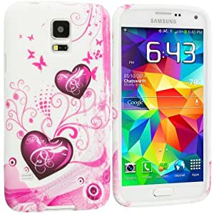 Accessory Planet(TM) Pink Heart on White TPU Design Soft Rubber Case Cover Accessory for Samsung Galaxy S5 by lolosakes