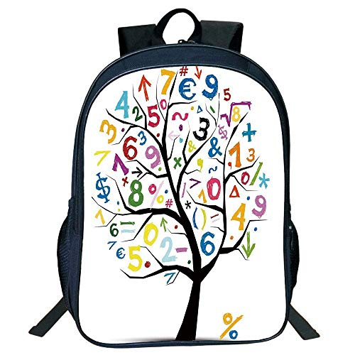 - DKFDS Backpacks Suitable for Primary School Backpack,Mathematics Classroom Decor,Art Tree with Colorful Numbers Math Symbols Fun Kids Drawing Decorative,Multicolor,for Kids.