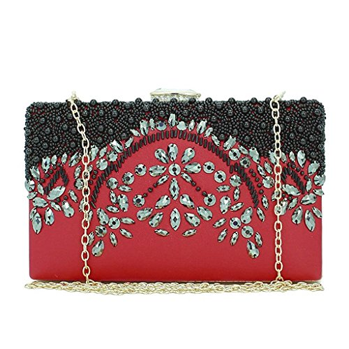 White JAGENIE Red Wedding Handmade Bag Bridal Bead Evening Party Women Purse Clutch Prom Wallet qwAOSqrW7B