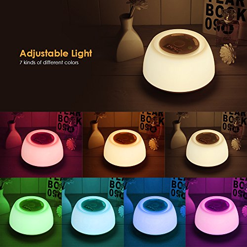 INLIFE Wake Up Light Alarm Clock Mood Light Simulation and Alarm Sounds, White Noise Machine with 7 Multicolor Rechargeable Portable Night Light