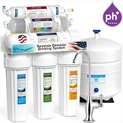 Express Water Alkaline Reverse Osmosis Water Filtration System  10 Stage RO Mineralizing Purifier  Mineral, pH +, Antioxidant  Under Sink Water Filter with Remineralization  50 GDP