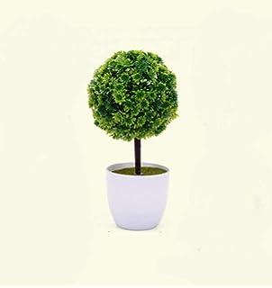 Snner Planta Topiary plástico Artificial de Pino con la Bola Blanca del plantador Macetas para decoración